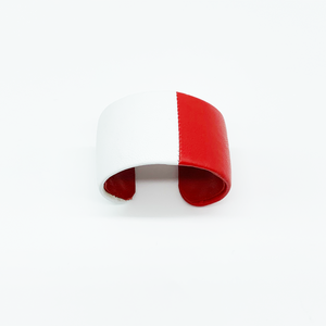 "CA Amazon Red and White Lamb Skin Cuff 1 1/2"" Cuff"