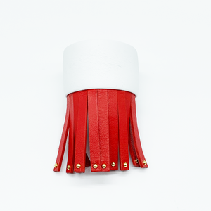 Christopher Augmon Amazon Red and White Studded Fringe Python Cuff