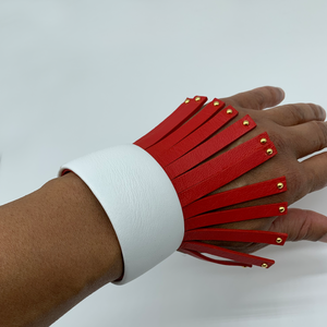 Christopher Augmon Amazon Red and White Studded Fringe  Cuff