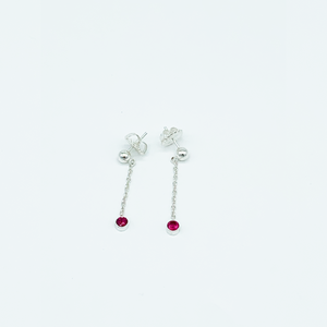 CA Simone Silver (Rhodium) white gold plated and CZ Ruby Red Diamond Drip Earrings
