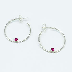 CA Mary Catherine Silver (Rhodium) white gold plated and CZ Ruby Red Diamond Cut Hoop Earrings