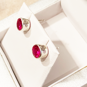 CA Mary Jo Silver (Rhodium) white gold plated and CZ Ruby Red Diamond Cut Stud Earrings