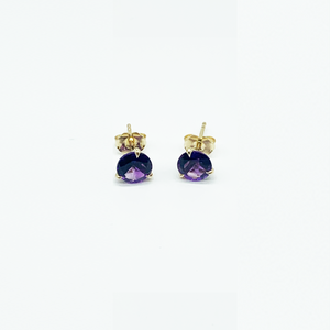 CA 18 Karat Yellow Gold Martin Amethyst Stud Earrings