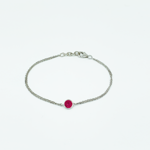 CA Christopher Augmon Silver (Rhodium white gold) and Red CZ Ruby Bracelet