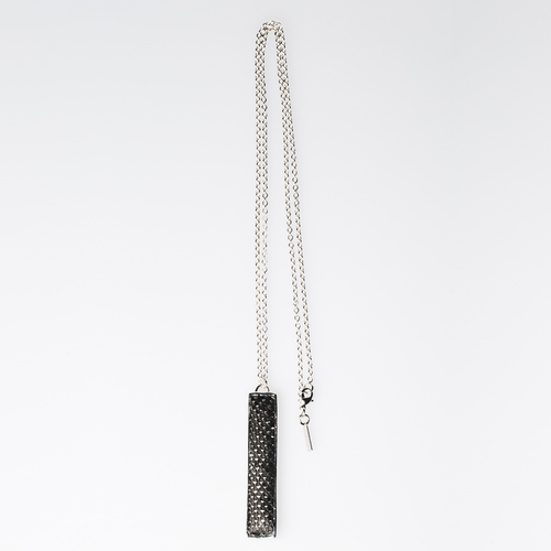 Christopher Augmon Amazon Black Silver Python T Bar Necklace