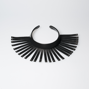 Christopher Augmon Amazon Black Leather Fringe Silver Studded Choker