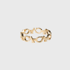 "CA ""CA"" Logo 18 Karat Yellow Gold Link Stack-able Ring"