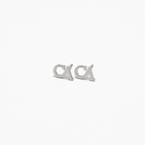 "CA ""CA"" 18 Karat White Gold Stud Earrings"
