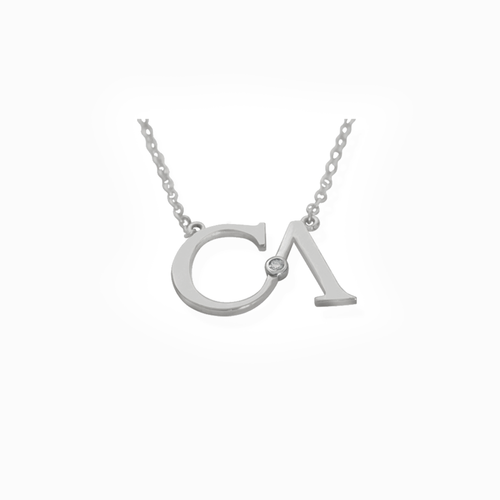 "CA ""CA"" logo 18 Karat White Gold and Diamond Pendant Necklace"