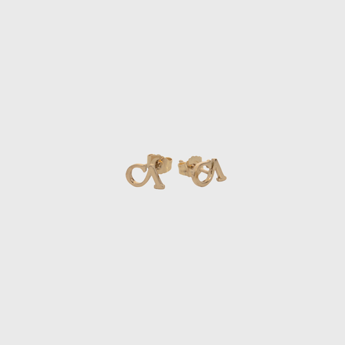 "CA ""CA"" logo 18 Karat Stud Yellow Gold Earrings"