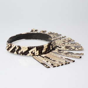 Christopher Augmon Amazon Natural Python Fringe Gold Studded Choker
