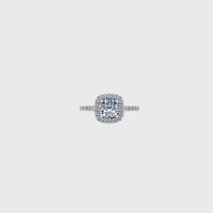 CA Custom Cushion and Double Diamond Halo Platinum Band Engagement Ring