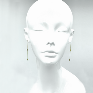 "CA-18karat Yellow Gold ""18k"" Logo Chandelier Earrings"