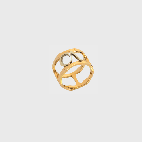 "CA ""CA"" Logo 18 Karat Yellow and White Gold Lincoln Park Ring"