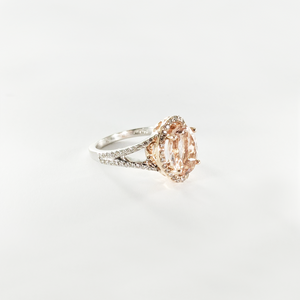 CA - New York 18 Karat Gold  Morganite and Diamond Ring
