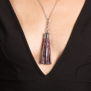 Christopher Augmon Burgundy Python Congo Tassel Necklace