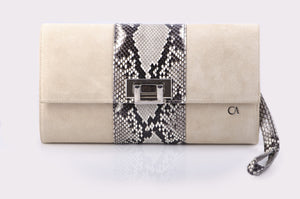 CA Mary Catherine Natural Python Medium Clutch