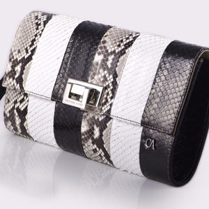 CA Mary Catherine Black/White Python Medium Clutch