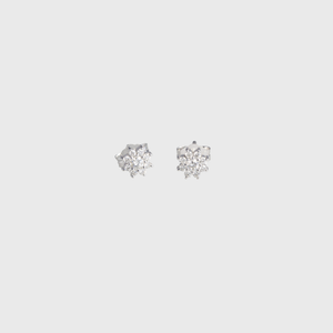 "CA 18 Karat White Gold and Diamond ""Sun Flower"" Stud Earrings"