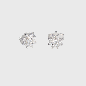 "CA 18 Karat White Gold and Diamond ""Violet Flower"" Stud Earrings"