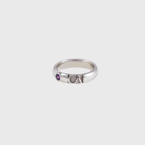 "CA 18 Karat ""Wicker Park"" 18 Karat White Gold and Purple Amethyst Ring"