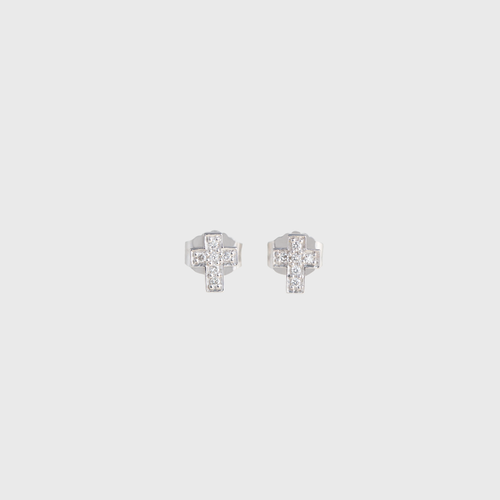 CA 18 Karat White Gold and Diamond Cross Stud Earrings