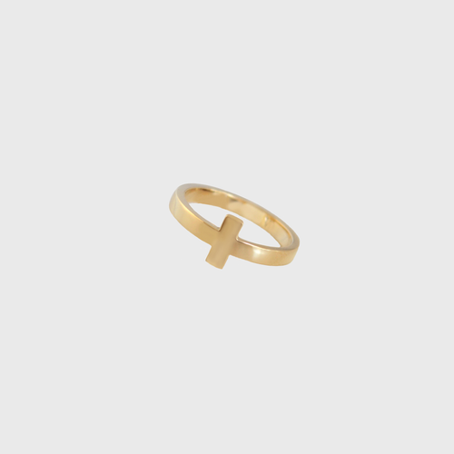 CA 18 Karat Cross Yellow Gold Ring