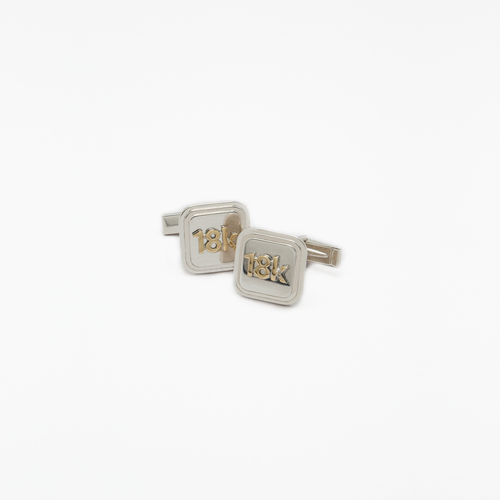 "18 Karat White and Yellow Gold ""18k"" Cufflinks"