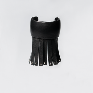 Christopher Augmon Amazon Black Leather Silver Studded Fringe Python Cuff