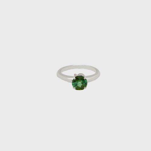 "CA 18 Karat ""I love Me"" 18 Karat White Gold and Tourmaline Ring"