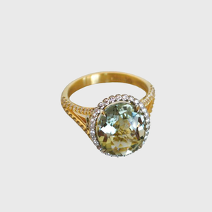 CA South Loop / Hyde Park 18 Karat Yellow and White Gold Paired with Green Amethyst with Diamonds Ring