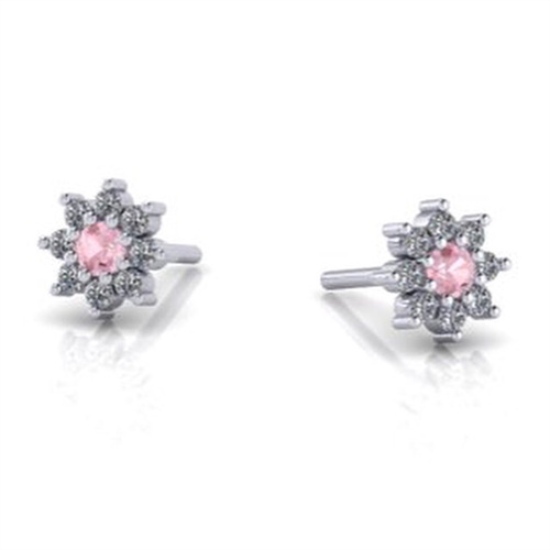 CA Custom 18 Karat White Gold Sunflower Clear and Pink Diamond Earrings