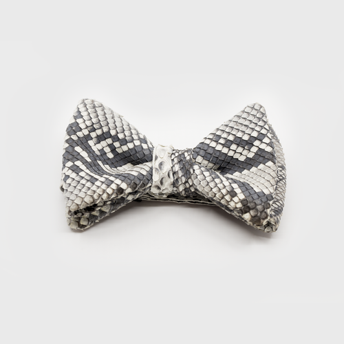 CA Christopher Augmon Custom Kwango Natural Python (Grey) Bow Tie; Adjustable Water Snake Strap