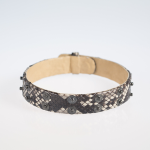 Christopher Augmon Python Exotic Nile Gunmetal Studded Adjustable Choker