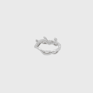 CA 18 Karat Thorn and Flower White Gold with Diamonds Ring