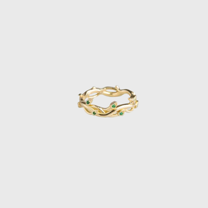 CA 18 Karat Thorn and Flower Yellow Gold with Green Emeralds Ring