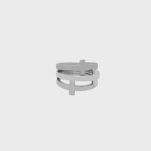 "CA 18 Karat ""Trinity Cross"" 18 Karat White Gold Ring"