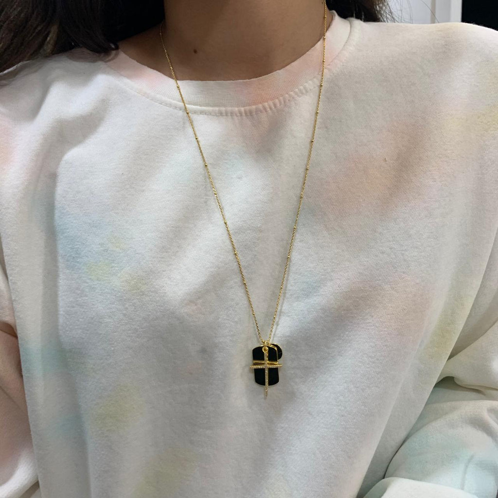 Cross Plate Long Necklace