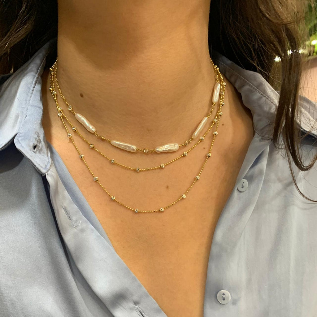 Long Pearl Choker Necklace