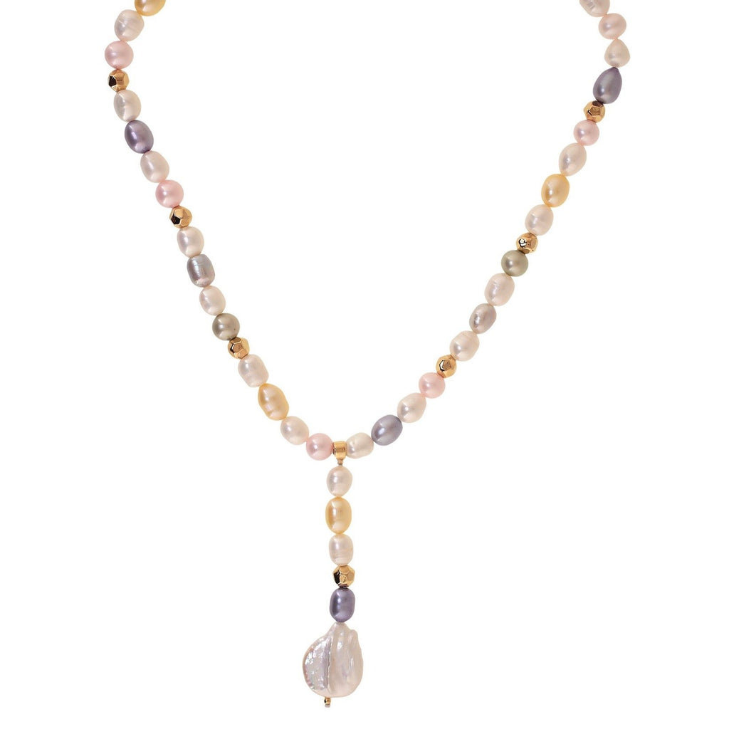 'PENINSULA' COLORED PEARLS TIE NECKLACE