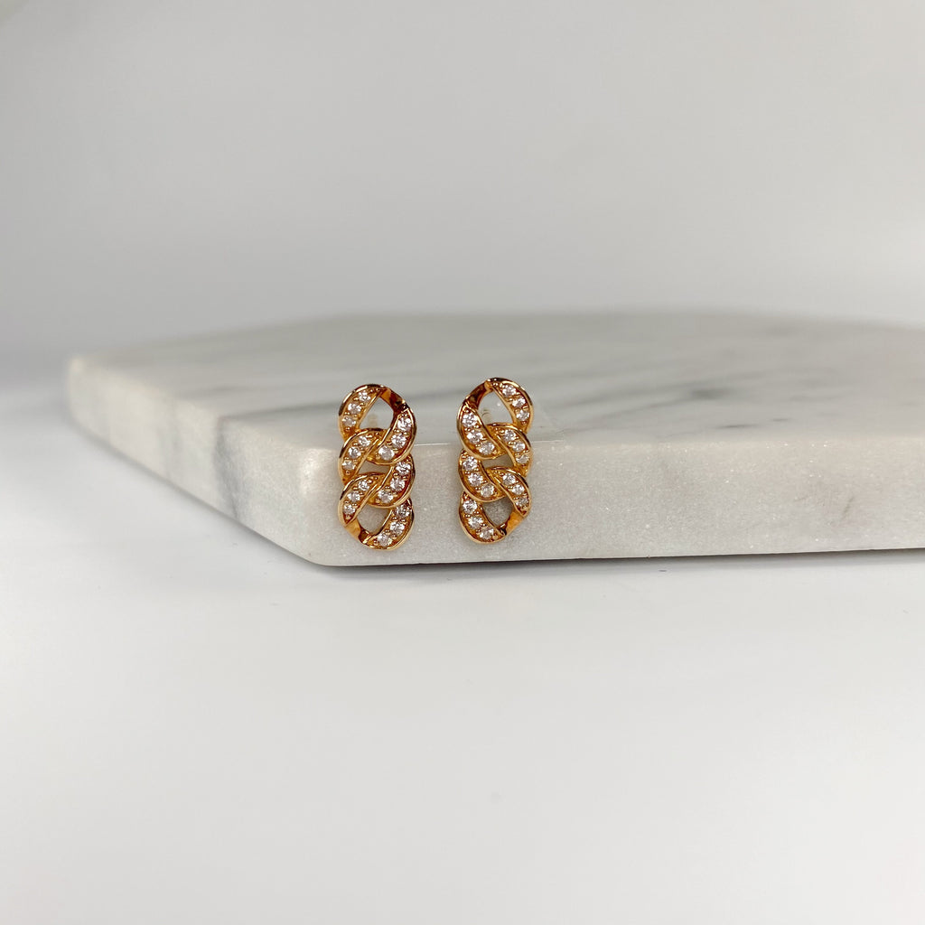 Three loop crystal earring