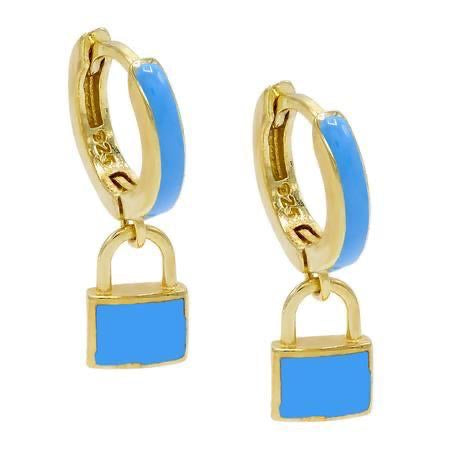Enamel Colored Lock Earrings