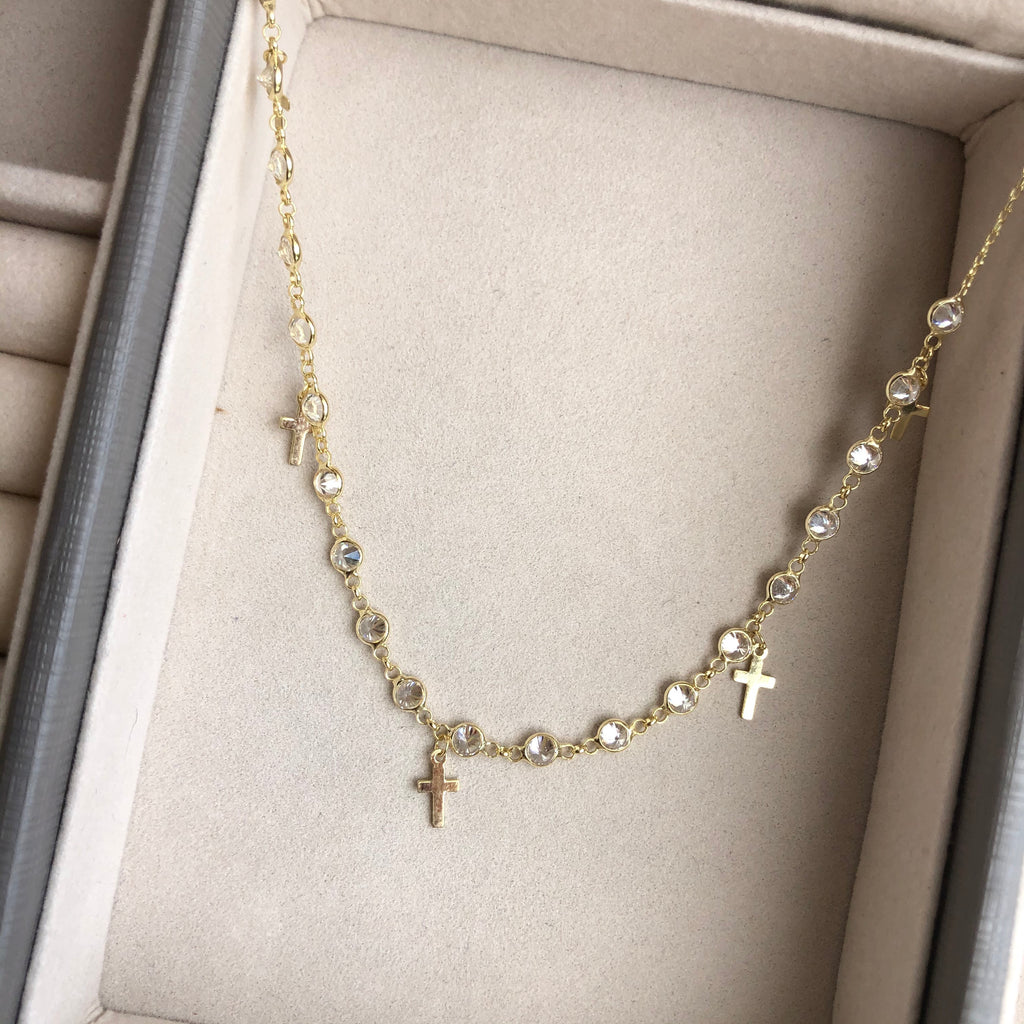 Star or Cross Diamond Cut Necklace