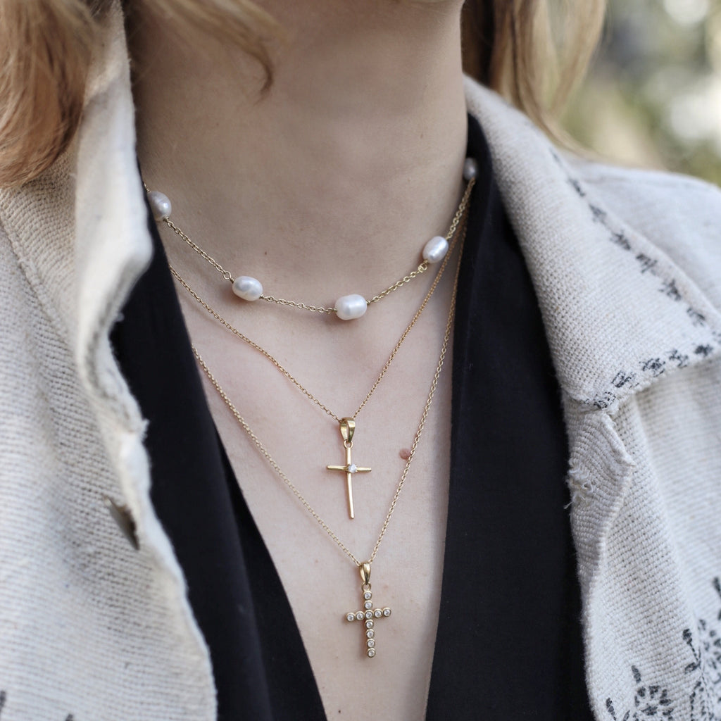 'GOLDIE' CROSS NECKLACE WITH ZIRCON