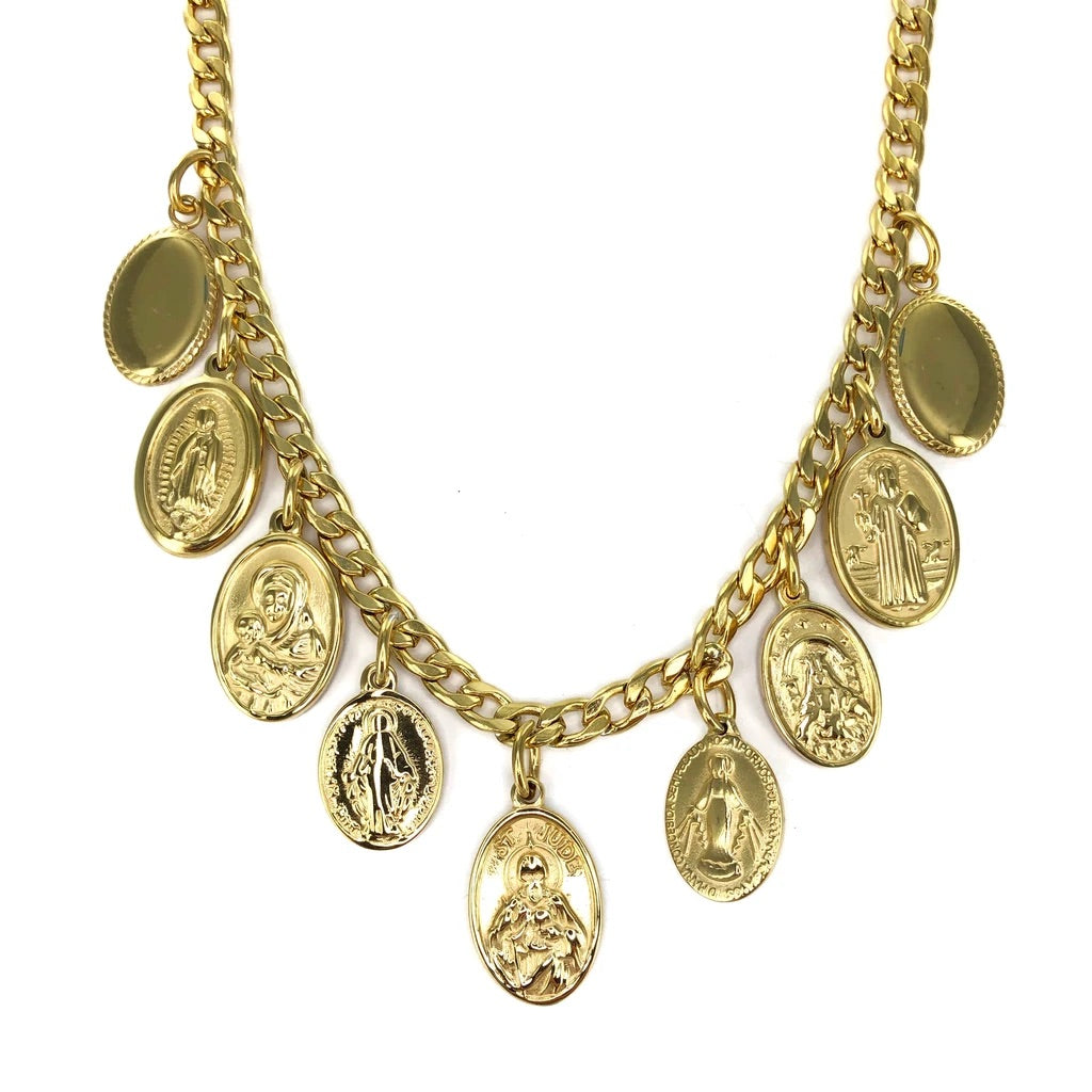 'MILAGROS' MULTI MEDAL CHUNKY NECKLACE