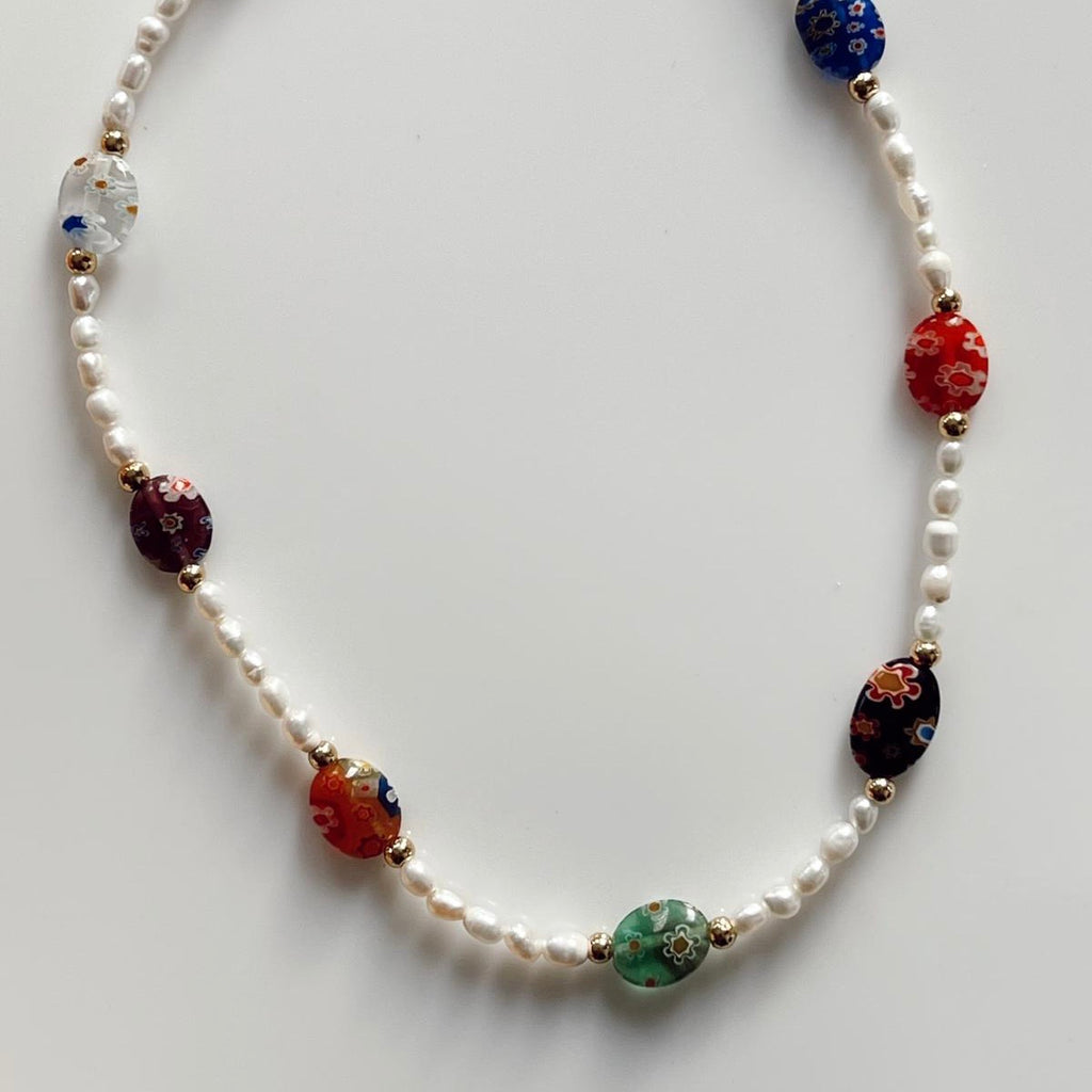 Millefiori Pearl Necklace