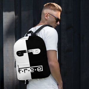 F.R.E.E white and black hand backpack