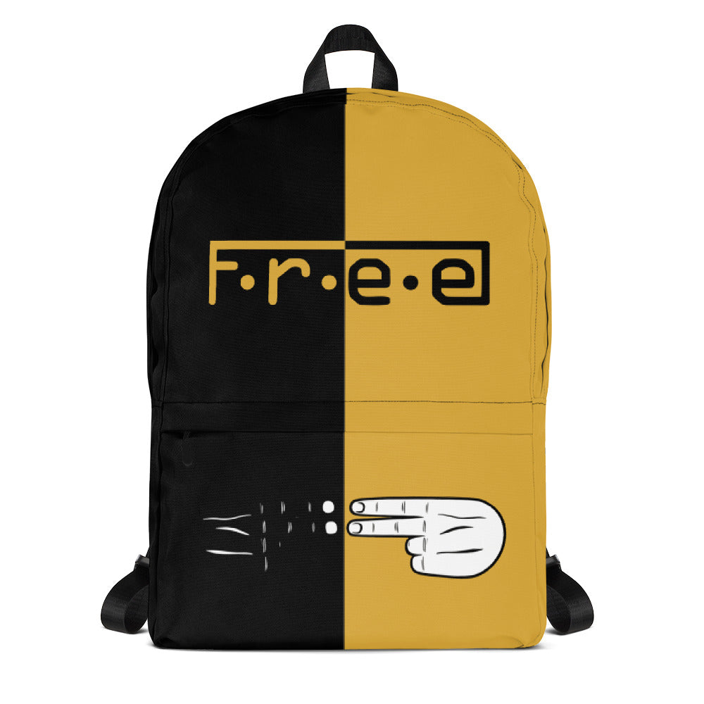 F.R.E.E black and gold backpack