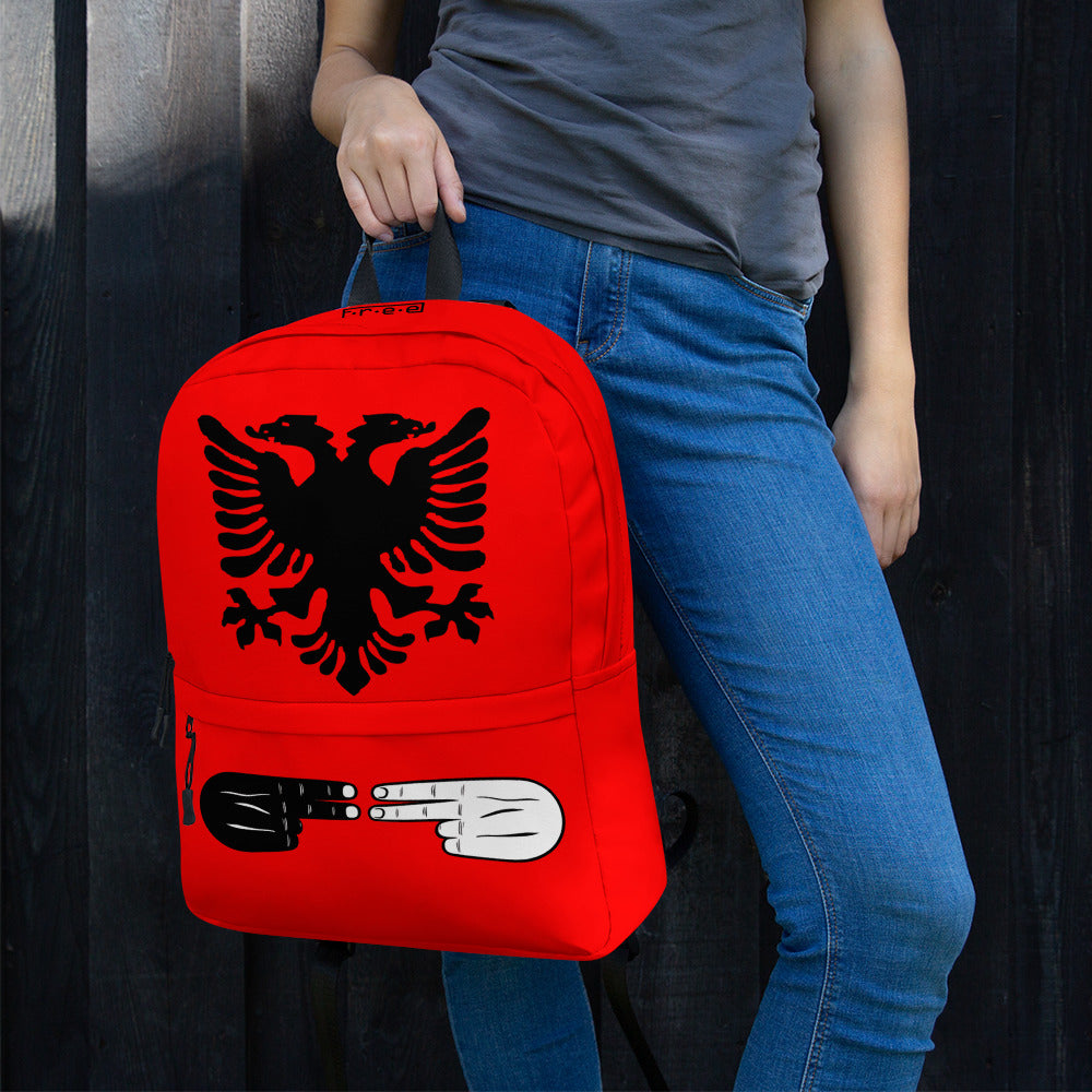Red Albanian backpack