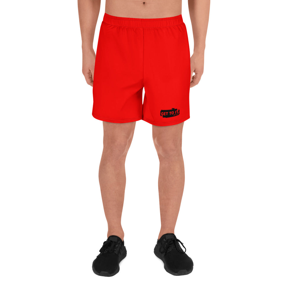 Red GTI black patch Men's Athletic Long Shorts